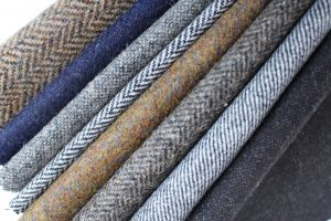Stack of tweed fabric