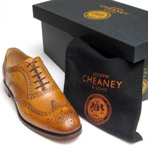 arthur chestnut cheaney brogue tan shoes box