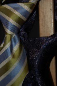 Close up of two tie knots.