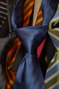 Close up of a tie knot.